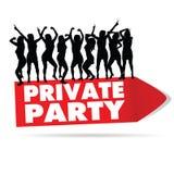 Zeichen für private Party mit Mädchenschattenbild Stockbilder
