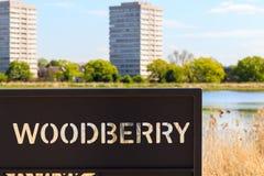 Zeichen für Woodberry-Sumpfgebiet in London Lizenzfreie Stockfotos