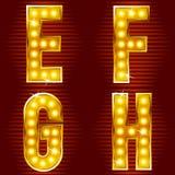Zeichen für Zeichen mit Lampen Stockbild
