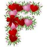Zeichen F - Valentinsgrußzeichen Stockfoto