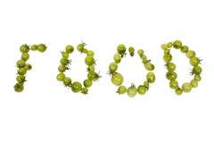 Zeichen gebildet durch grüne Tomaten Lizenzfreies Stockbild