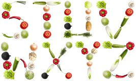 Zeichen gebildet vom Gemüse Lizenzfreie Stockfotos