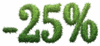 -25% Zeichen, gemacht vom Gras Stockfotografie
