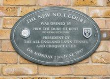 Zeichen am Gerichtsnummer eins an Wimbledon-Platz Stockfotografie