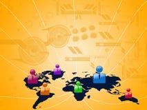 Zeichen-Geschäftsleute am orange Hintergrund Stockfotos