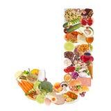 Zeichen J gebildet von der Nahrung lizenzfreie stockfotos