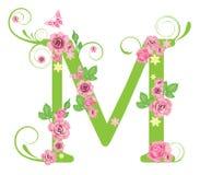 Zeichen M mit Rosen Stockfoto