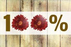 100% Zeichen machte Blumen auf hölzernem Hintergrund lizenzfreie stockfotografie