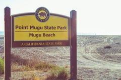 Zeichen-Markierung für Mugu-Strand in Malibu, Kalifornien lizenzfreie stockfotos