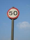 Zeichen mit 50 Begrenzungen Lizenzfreie Stockfotos