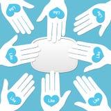 Zeichen mit Bewunderung - Konzept für Social Media-Vernetzung lizenzfreie abbildung