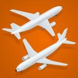 Zeichen mit der Reflexion lokalisiert auf Weiß Flacher isometrischer Transport der hohen Qualität 3d - Passagierflugzeug Lizenzfreies Stockfoto