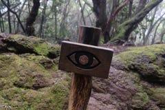Zeichen mit einem Auge im Wald von Anaga lizenzfreie stockfotos