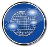 Zeichen mit einer Weltkugel und -blasen Stockfoto