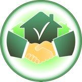 Zeichen mit Haus und Händedruck vektor abbildung