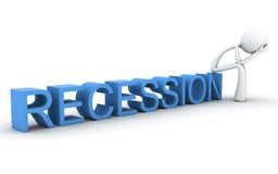 Zeichen mit Kopf in den Händen. Rezession Stockbild