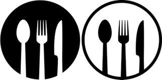 Zeichen mit Löffel, Gabel und Messer Stockfotos