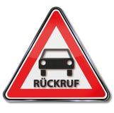 Zeichen mit Rückruf von Fahrzeugen vektor abbildung
