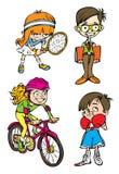 Zeichen mit vier Kindern Stockfoto