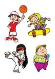 Zeichen mit vier Kindern Stockbilder