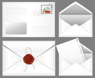 Zeichen mit Wachsdichtung und Briefmarke. stock abbildung
