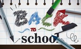 Zeichen mit zurück zu Schulmitteilung mit Stiften, Vektor-Illustration Lizenzfreie Stockfotos