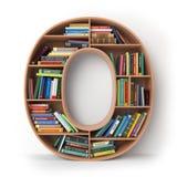 Zeichen O Alphabet in Form von Regalen mit den Büchern an lokalisiert Lizenzfreie Stockfotos