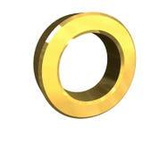 Zeichen O des Gold 3d Stockfoto