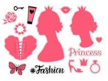 Zeichen Prinzessin Fashion Seitenansicht des Mädchenschattenbildes Gesetzte Illustration des Vektors lokalisiert auf weißem bakgr vektor abbildung