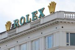 Zeichen Rolex Company auf dem Gebäude Stockbild