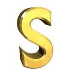 Zeichen S des Gold 3d Stockbild
