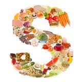 Zeichen S gebildet von der Nahrung Stockfoto