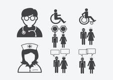 Zeichen-Symbol-Piktogramm Doktor-Nurse Patient Sick Icon Lizenzfreie Stockbilder