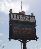 Zeichen am titanischen Museum, Branson Missouri Lizenzfreies Stockbild