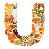 Zeichen U gebildet von der Nahrung Lizenzfreie Stockbilder