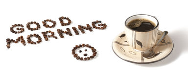 Zeichen und ein Tasse Kaffee Stockfotografie
