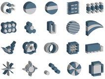 Zeichen und Elemente des Vektor 3d lizenzfreie abbildung