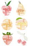 Zeichen- und Fruchtprobeflasche Lizenzfreie Stockbilder