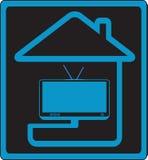 Zeichen unterzubringen und Fernsehapparat Stockbilder