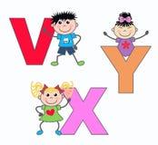 Zeichen V X und Y Stockfoto