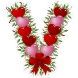 Zeichen V - Valentinsgrußzeichen Stockfoto