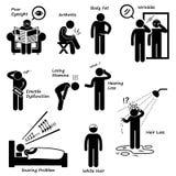 Zeichen von Altern-Mann-Älterwerden-Symptome Cliparts-Ikonen Lizenzfreie Stockfotografie