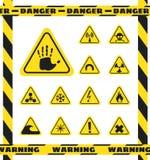 Zeichen von chemischen Effekten auf Menschen, Strahlung, Strahlung und Sprengstoffe in den gelben Dreiecken achtung Vektor lizenzfreie abbildung