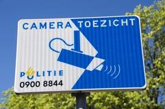 Zeichen von der Amsterdam-Polizei-Kamera-Durchführung die Niederlande stockbild