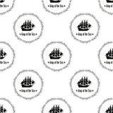 Zeichen von König des Meeres Nahtloses vektormuster Lizenzfreie Stockfotos
