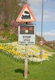Zeichen-WARNING des Niveauübergangs. Lizenzfreie Stockbilder
