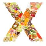 Zeichen X gebildet von der Nahrung Stockfotos