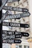 Zeichen zeigen in alle Richtungen Stockfoto
