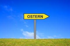 Zeichen zeigt Ostern in der deutschen Sprache Stockfoto