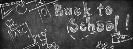 Zeichen zurück zu Schulkreide-Skizzen-Tafel stockfotografie